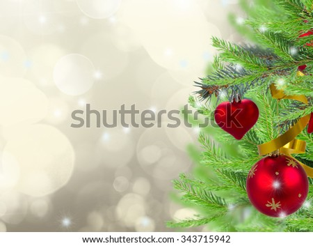 christmas frame background with decorated fir tree on gray sparkling background - stock photo