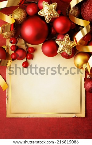 christmas frame background with red ornaments - stock photo