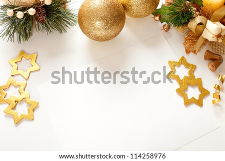 Christmas frame for greeting card - stock photo