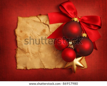 Christmas frame for greeting card with decorative christmas ornaments - stock photo
