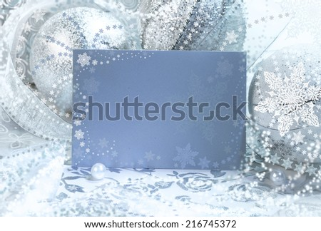 Christmas frame in blue and silver, place for your text - stock photo