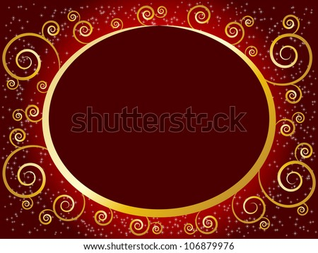 Christmas frame in bright red and gold - stock photo