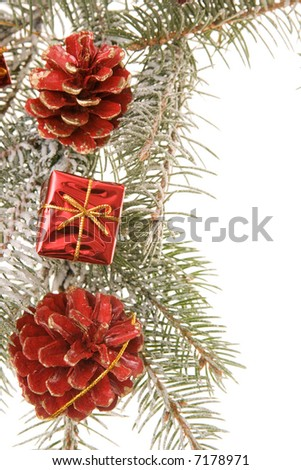 Christmas frame made of little gifts and conifer, isolated on white