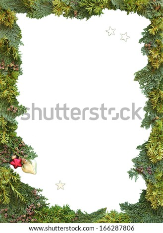 christmas frame of natural thuja and jew twigs with copy space - stock photo