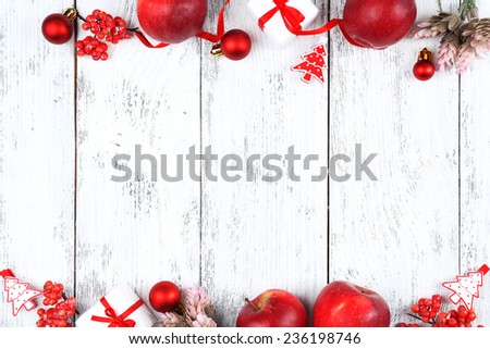 Christmas frame with apples, cookies and decorations - stock photo