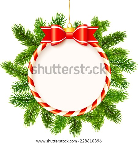Christmas frame with red bow and fir tree branches - stock photo