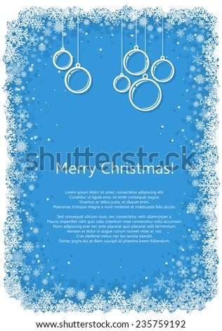 Christmas frame with snowflakes over blue background.Raster version of the illustration. - stock photo
