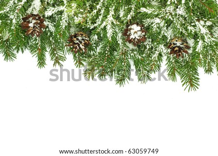 Christmas framework with snow isolated on white background - stock photo