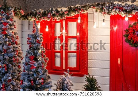 christmas front door of a country house background concept happy christmas new year