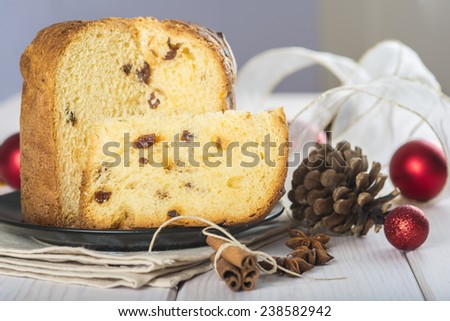 Christmas fruit cake panettone traditional in Italy - stock photo