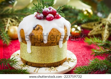 Christmas fruitcake decorated with icing and berries - stock photo