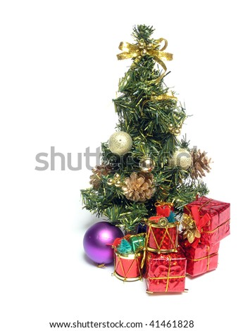 Christmas fur-tree with cones and gifts
