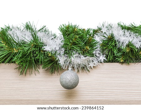 Christmas garland and place for your text - stock photo
