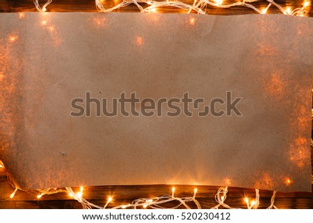 Christmas garland on blank paper