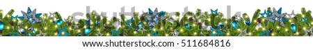 christmas garland super wide panorama banner with fir branches blue petrol turquoise  silver stars and baubles xmas decoration isolated on white background