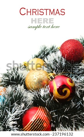 Christmas Garland with Christmas bubbles isolated on white - stock photo