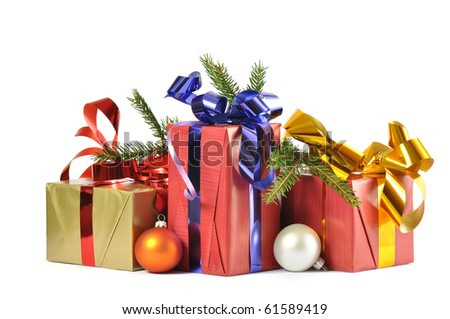 Christmas gift and baubles isolated on white background - stock photo