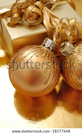 Christmas gift and decoration - stock photo