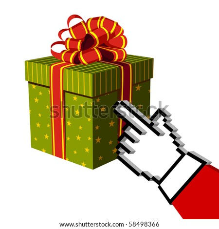 Christmas gift and Santa e-buying with a hand cursor. E-commerce concept. White background. - stock photo