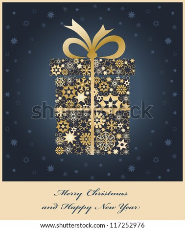 Christmas gift box from golden snowflakes. Christmas background. - stock photo