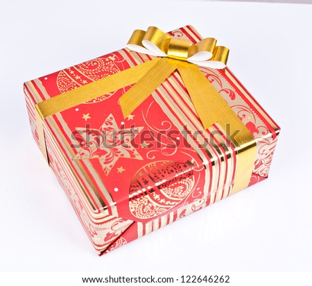 christmas gift box on a white background
