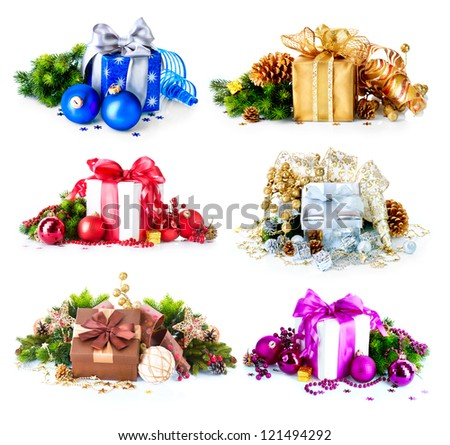 Christmas Gift Box Set. Collage of Six Colorful New Year's Gifts isolated on White Background. Present Boxes with Baubles , Ribbon, Evergreens, Bow. Different Colors. Art Holiday Design. Decorations. - stock photo