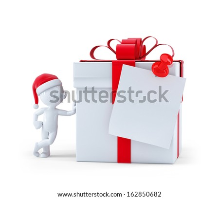 Christmas gift box with blank card. Isolated on white background. - stock photo
