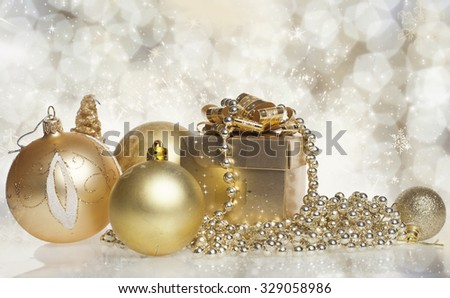 Christmas gift box with christmas balls