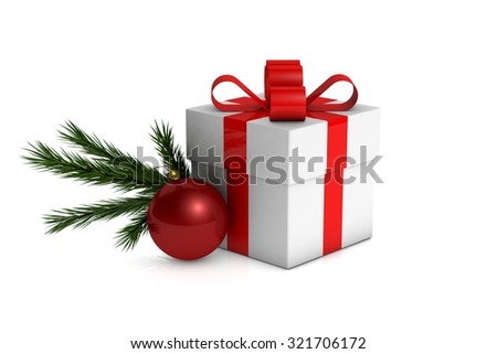 Christmas gift box with decorations and branch fir tree on a white background - stock photo