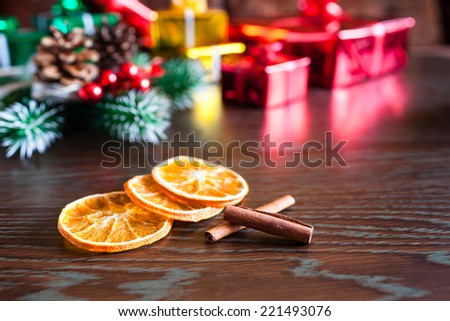 Christmas gift boxed with decorations - stock photo