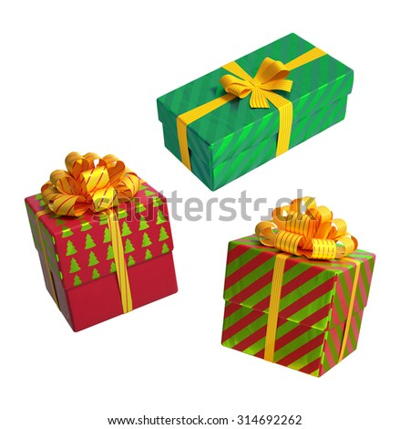 Christmas gift boxes over white background 3d illustration - stock photo