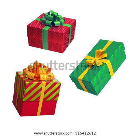 Christmas gift boxes over white background 3d illustration - stock photo