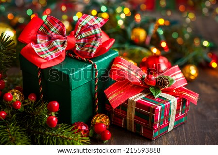 Christmas Gift Box Decorations Interesting Christmas Gift Boxes Decorations Stock Photo 215593888  Shutterstock Decorating Design