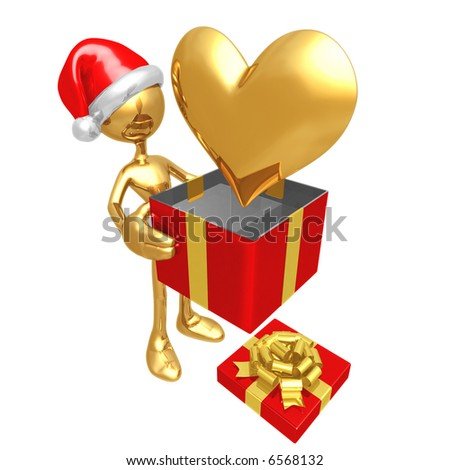 Christmas Gift Heart - stock photo