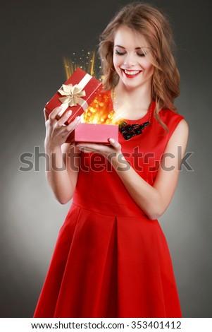 Christmas Gift.Holidays magic. - stock photo
