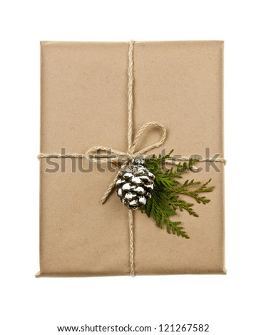 Christmas gift in brown wrapping and string with pine cone decoration isolated on white - stock photo