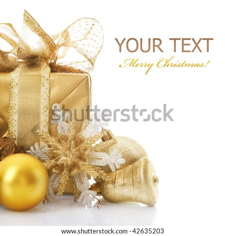 Christmas Gift isolated on white - stock photo