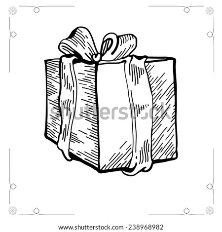 Christmas Gift isolated on white backgroun. Outline illustration gift boxes with bows and ribbons. Christmas Gift. Graphic Engraving Style - stock photo