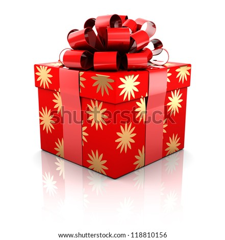Christmas gift isolated on white background, 3d image - stock photo