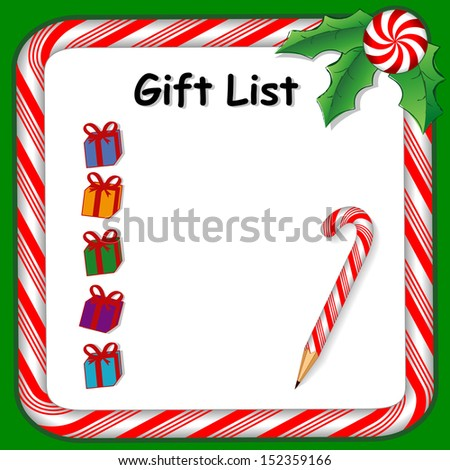 Christmas Gift List on whiteboard with candy cane frame in red and green, candy cane pencil, holly, peppermint candy trim. To organize holiday parties and presents.  - stock photo