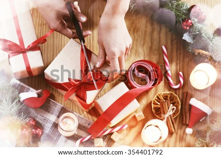 Christmas gift packaging hand wood