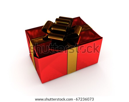 Christmas gift. Red box with gold ribbon isolated on white background. High quality 3d render.