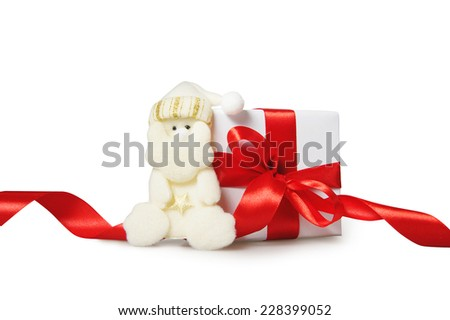Christmas gift Santa Claus on a white background. - stock photo