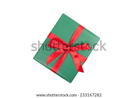 christmas gift top view on white background - stock photo