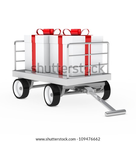 christmas gift trolley with red white gifts