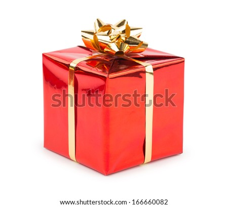 Christmas Gift with Bow isolated on white - stock photo