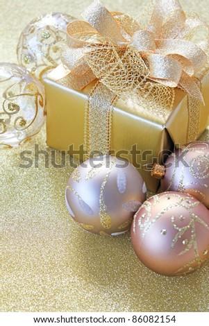 Christmas gift with christmas balls - stock photo