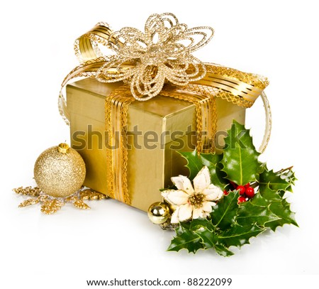 Christmas gift with decoration, isolated on white background
