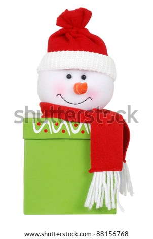 Christmas gift with snowman face - stock photo