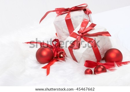 Christmas gift with tapes, new year ornaments - stock photo